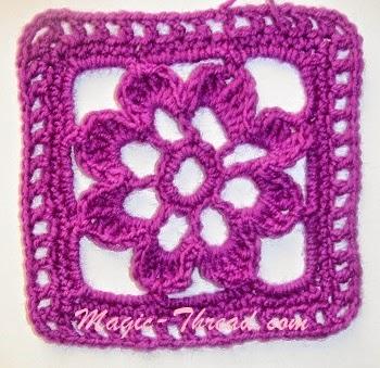 Granny cuadrado con centro floral - con esquema