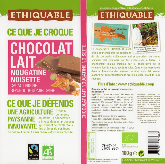 tablette de chocolat lait gourmand ethiquable république dominicaine lait nougatine noisette