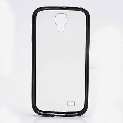 Hybrid Case : TPU Edges and Transparant Back Case Samsung Galaxy S 4 IV i9500 i9505 - Black