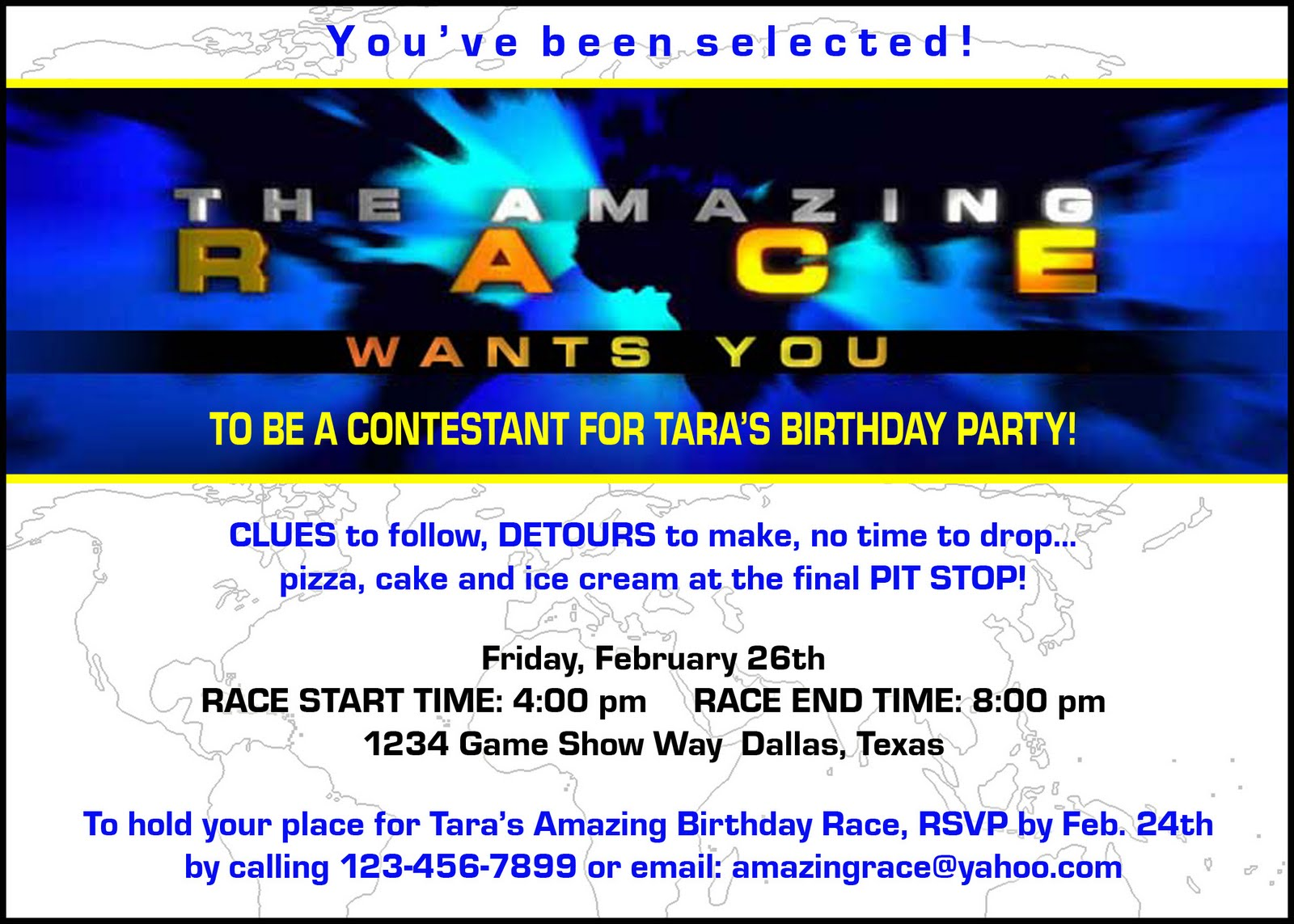 Paper perfection free amazing race birthday party invitation the badges look great laminated and hung on a lanyard filmwisefo Image collections