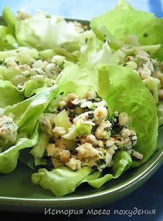 Салат из белой рыбы с огурцами