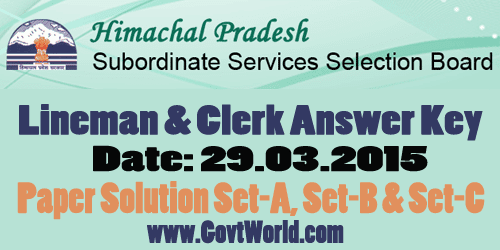 HPSSSB Lineman & Clerk Answer Key 2015