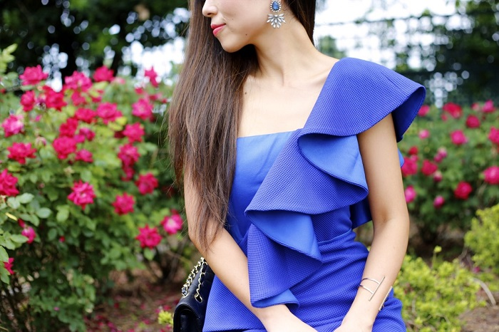 Three Floor into the blue dress, revolve clothing, revolve me, bauble bar statement necklace, chanel classic flap bag, schutz sandals, baublebar statement bracelet, fashion blog, new yorker, date night, wedding guest outfit
