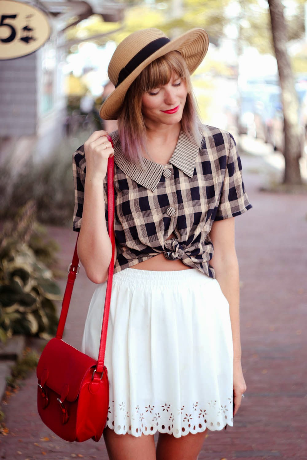red forever 21 bag, vintage collar blouse, marthas vineyard, vintage fashion blogger