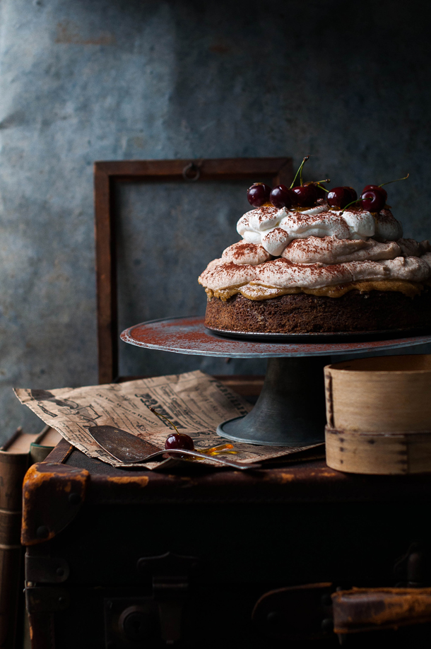 Chestnut mousse cake with sour cherries dipped in caramel