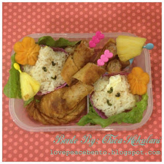 Bento lunch with star shaped rice and lumpia shanghai (mini eggrolls).