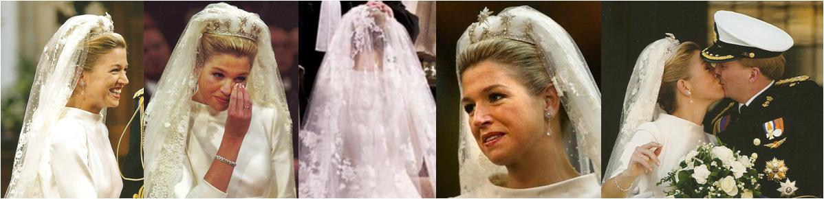 Princess Letizia had the same situation high collared dress lace veil