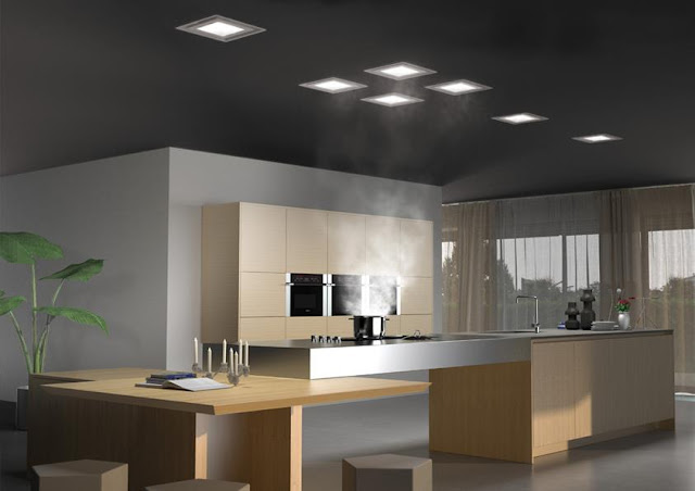 Hotte plafond design ressemblant à des spots plafonniers modernes