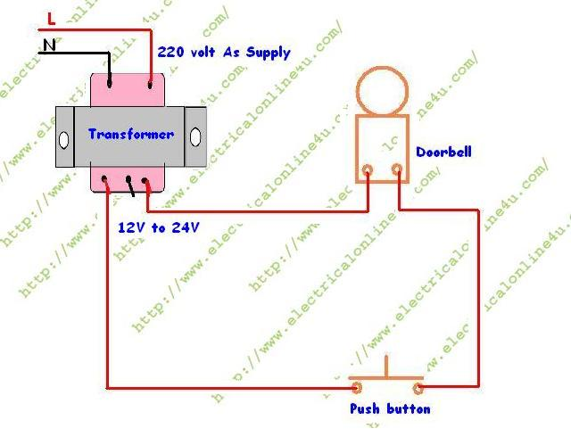 doorbell%2Btransformer%2Bwiring%2Bdiagram how to wire a doorbell electrical online 4u What Size Wire for Doorbell at gsmx.co