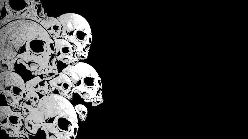 desktop wallpapers - skull - black and white title=
