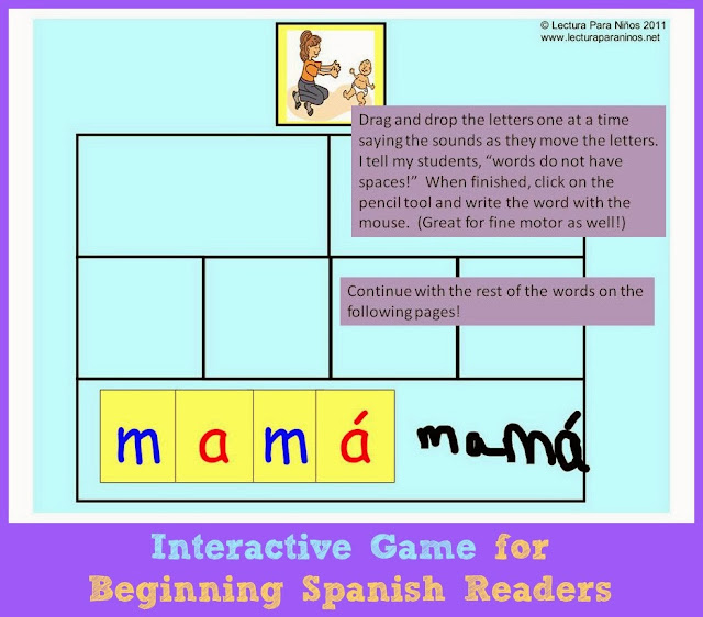 Interactive games for Spanish readers