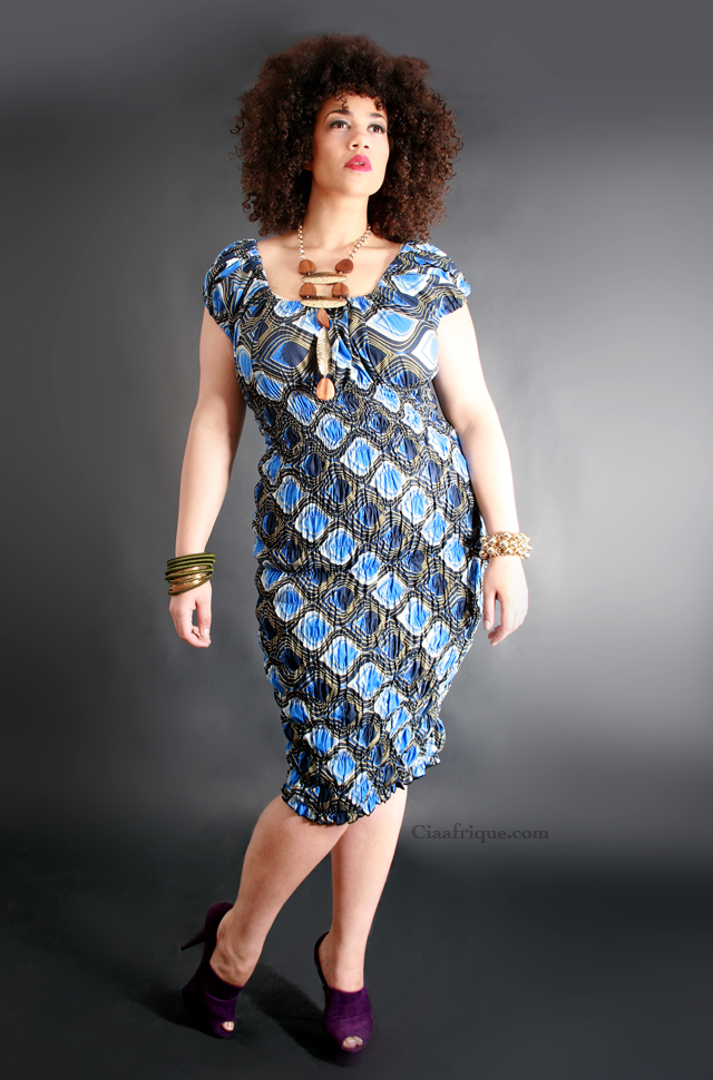 African print style dress for plus size women