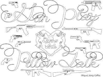 Gun Play turns into pillow talk quote adult coloring page, stefanie girard