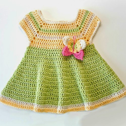 Free Crochet Pattern for Butterfly Kisses Baby Dress