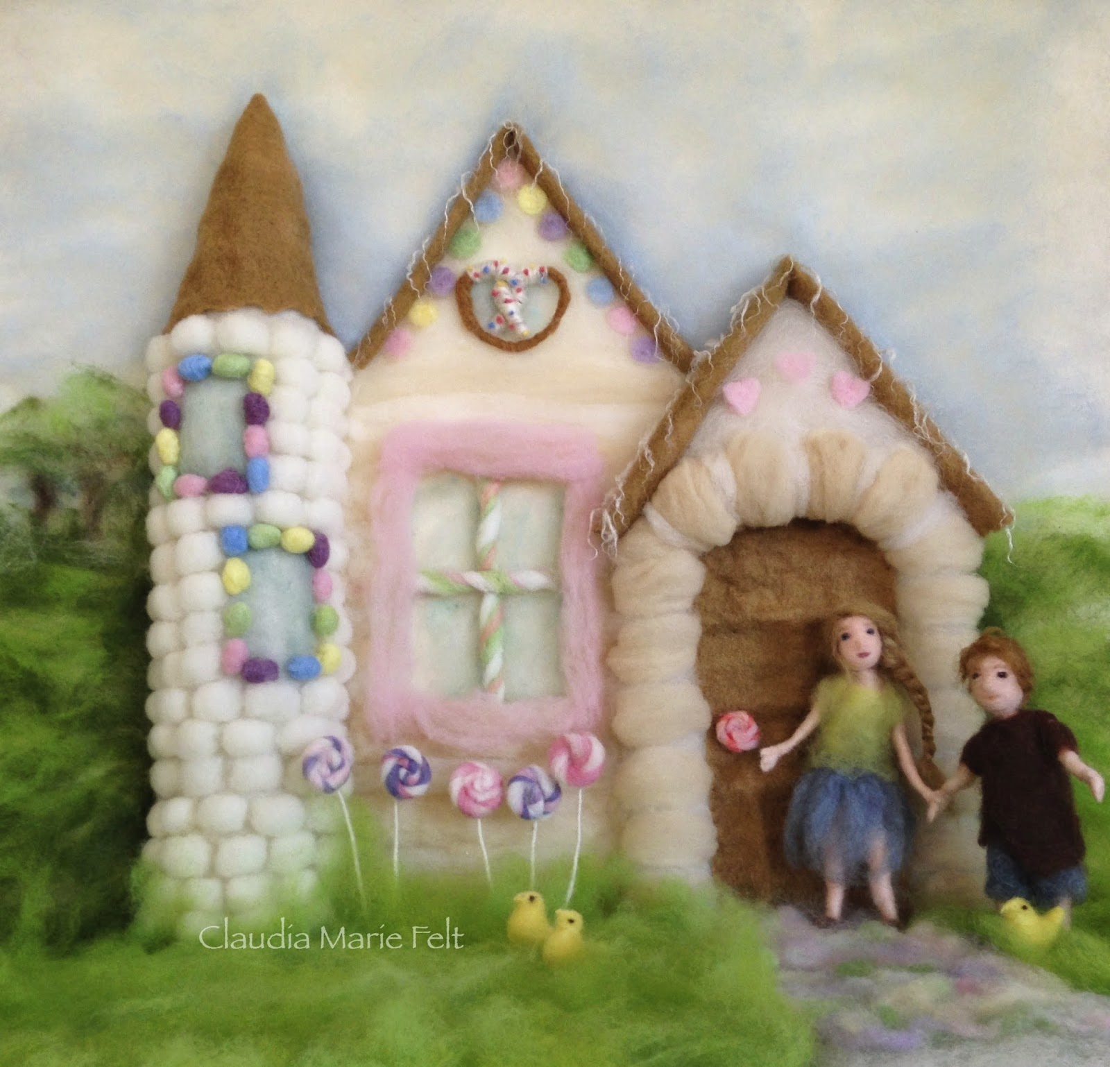 Fiber Art Book Illustration of Candy House