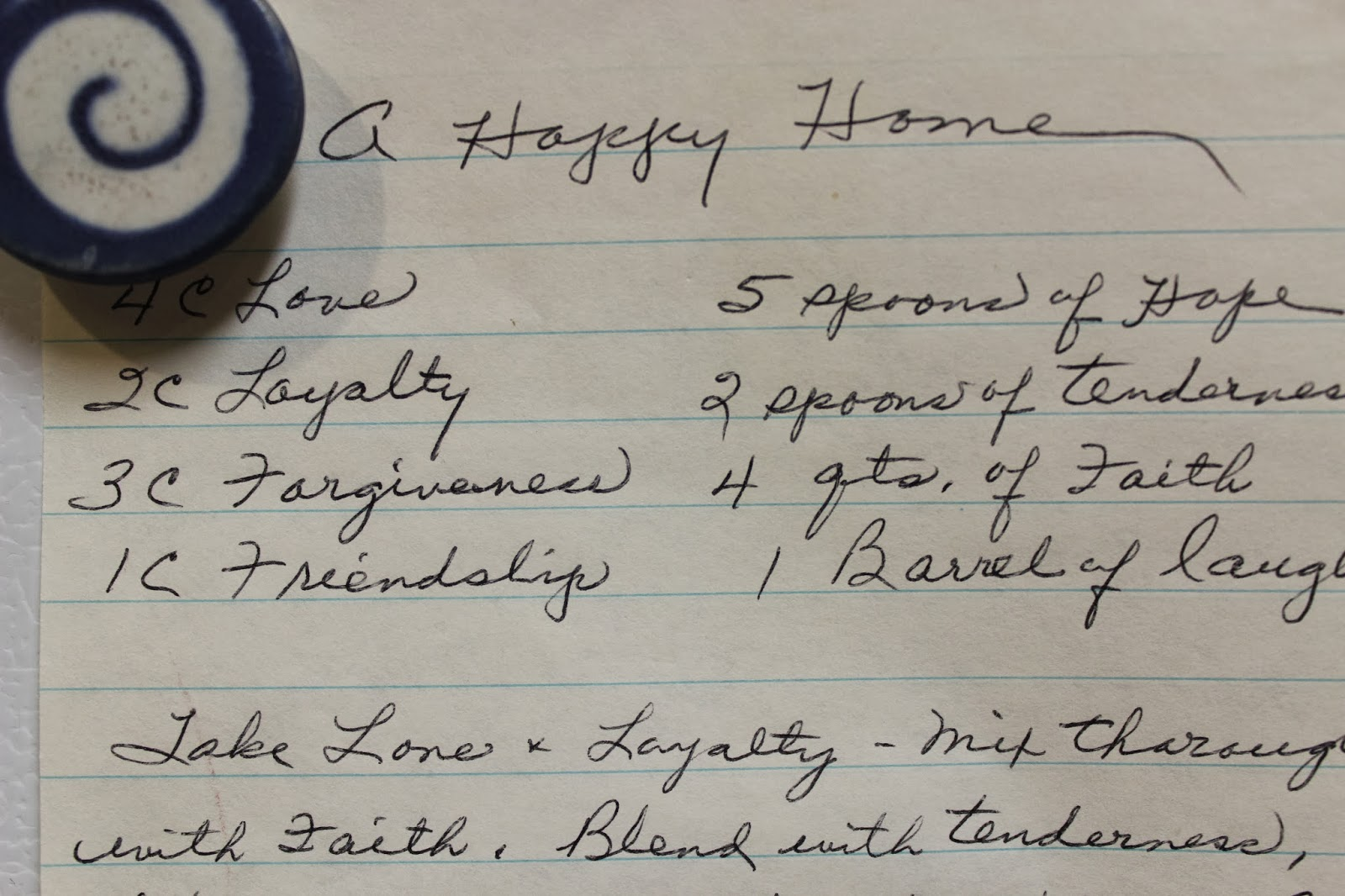 A recipe for A HAPPY HOME. This recipe must be made EVERYDAY.