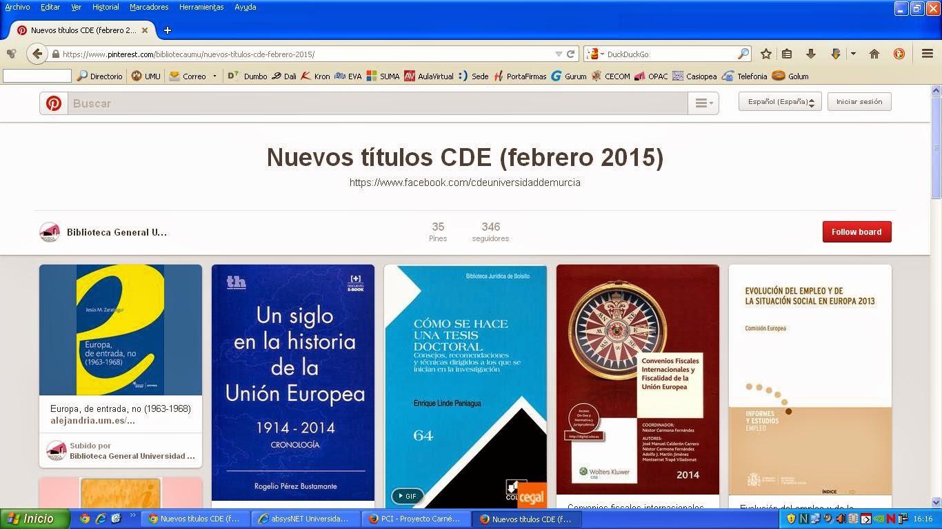 Nuevas adquisiciones del Centro de Documentación Europea - CDE.
