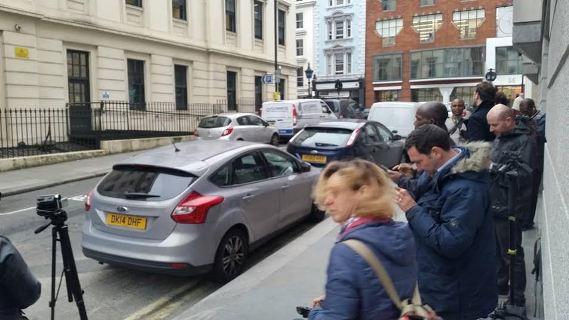 World press wait outside Charing Cross station to see Diezani Alison Madueke
