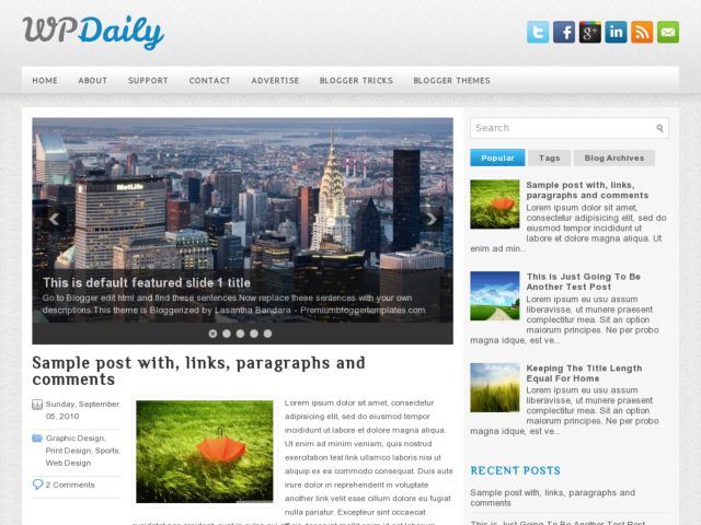 WpDaily Blogger Template