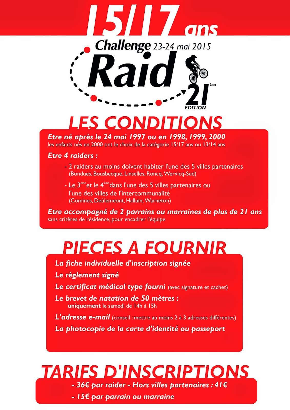 challenge raid vallee de la lys inscriptions 2015 cat gorie 15 17 ans. Black Bedroom Furniture Sets. Home Design Ideas