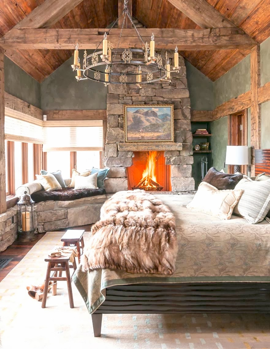 Cococozy mountain rustic bedrooms cabin fever this or that for Bedroom ideas with fireplace