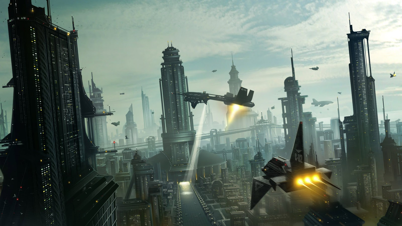Futuristic city with spaceships and skyscapes