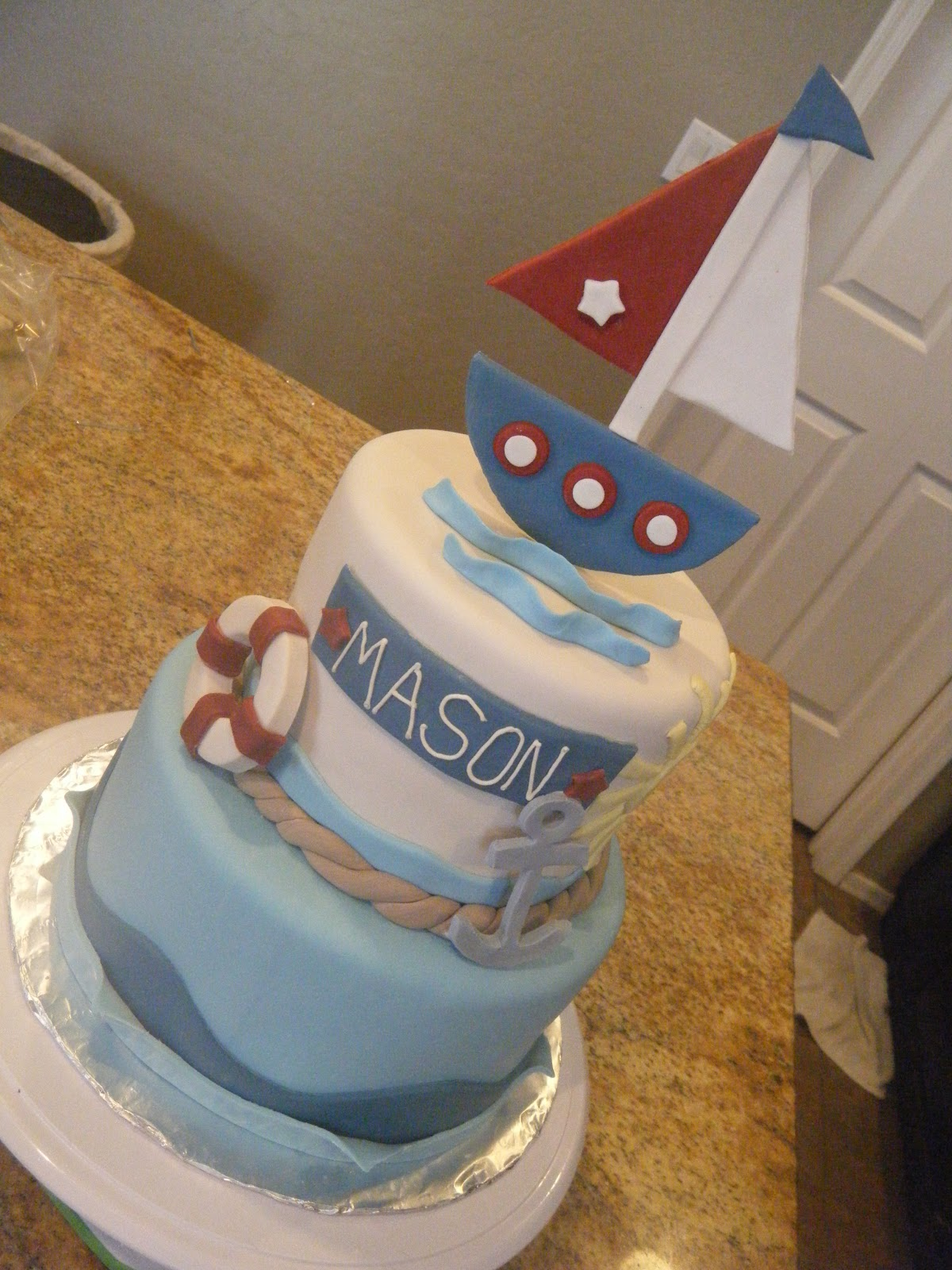 Cassy S Cakes Vintage Nautical Baby Shower Cake