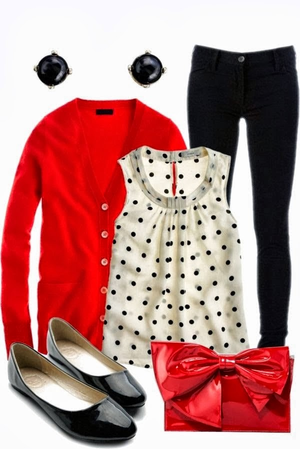 Adorable polka dot top, red cardigan and black skinny