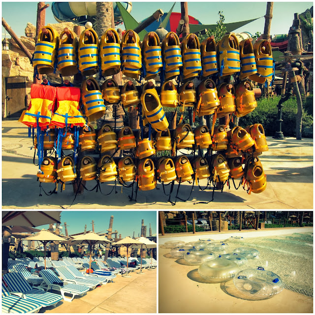 Lifejackets and Wave Pool at Yas Waterworld