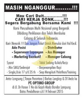 Jobs Lampung PT. Optimo Group