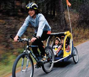 child bike seat, bike trailer