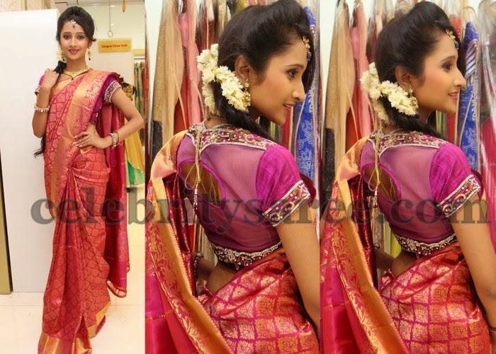 Sowmya Bridal Saree in Pink
