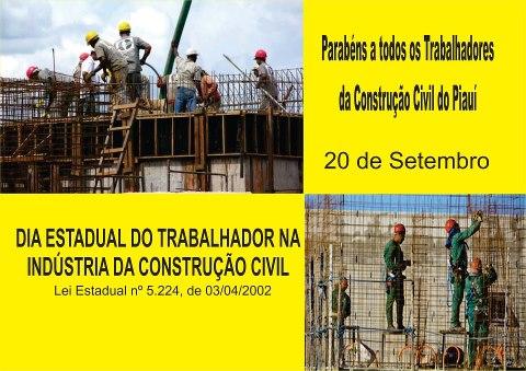 PARABÉNS AO TRABALHADOR DA CONSTRUÇÃO CIVÍL