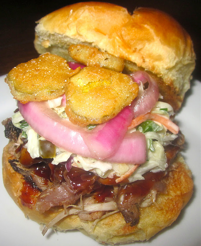 Pulled Pork Sandwiches with Pickled Red Onions, Jalapeno Coleslaw ...