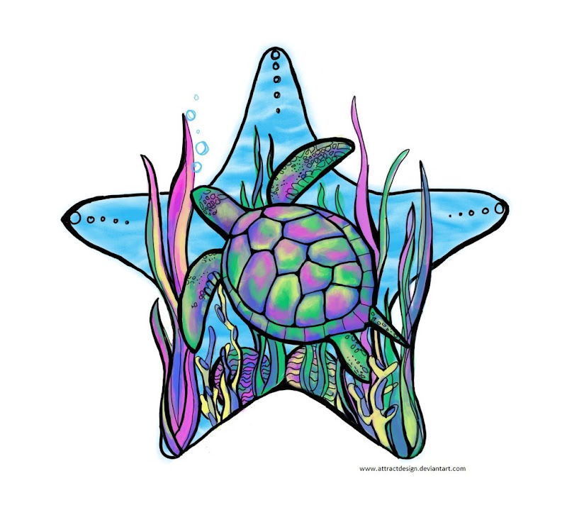 rainbow sea turtle tattoo for girls at back and stomach or lower leg title=