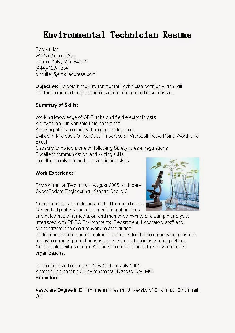resume sles environmental technician resume sle