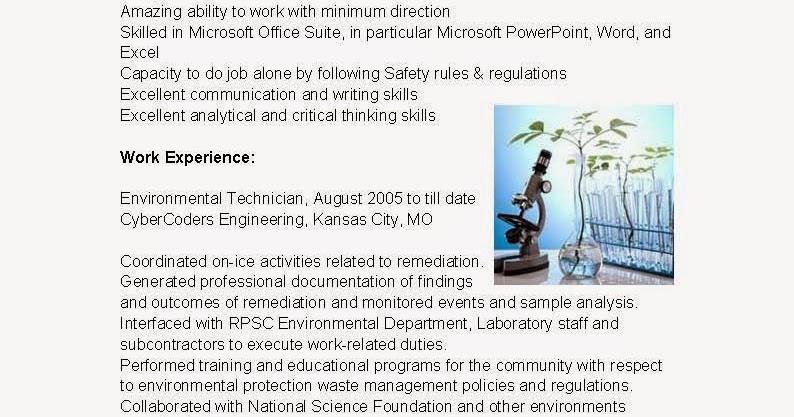 Environmental technician resume examples