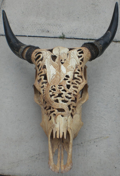 Bali carved cow skull