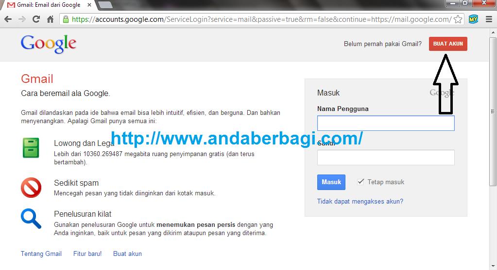 Pertama silahkan kamu buka www.gmail.com , lalu klik Buat Akun yang ...