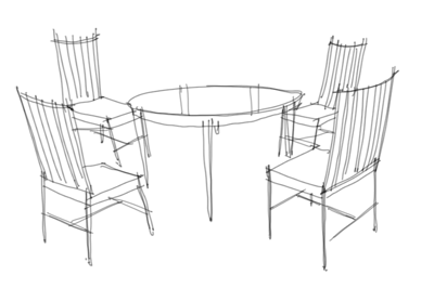 Beau How To Draw A Round Table And Four Chairs