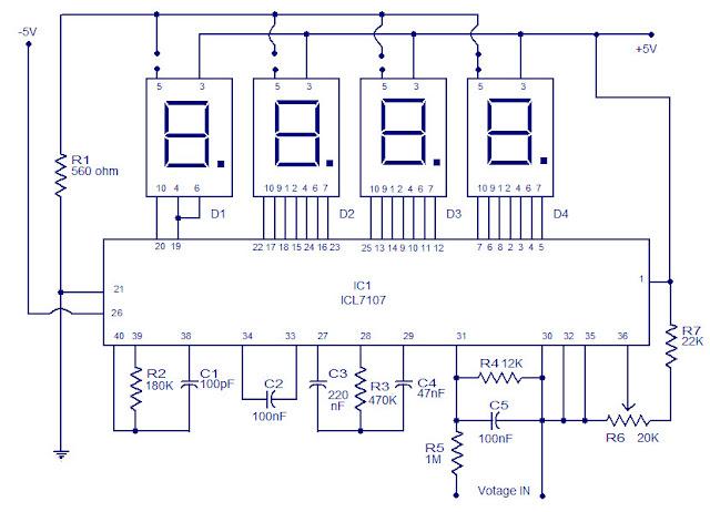 electronic circuit digital voltmeter using icl7107 simple digital voltmeter circuit diagram rechargeable digital voltmeter using