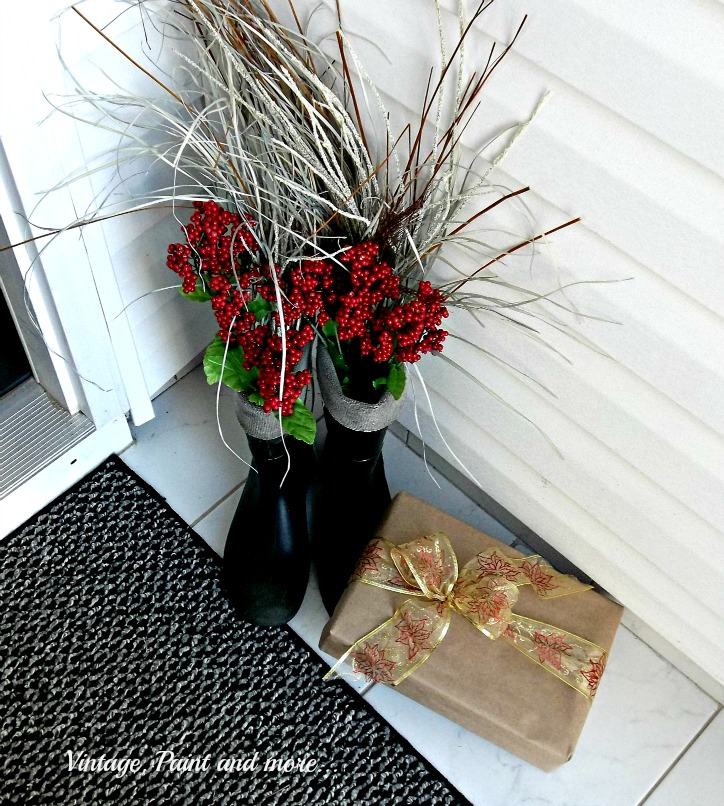 Vintage, Paint and more... thrift store Santa boots filled with grasses and red berries