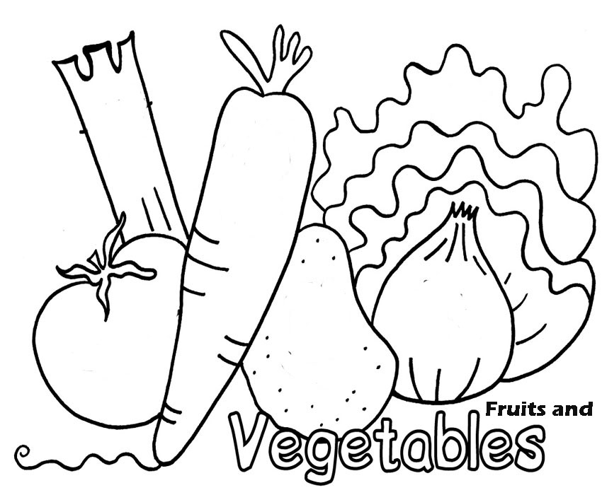 Coloring Pages Of Fresh Fruit and Vegetables
