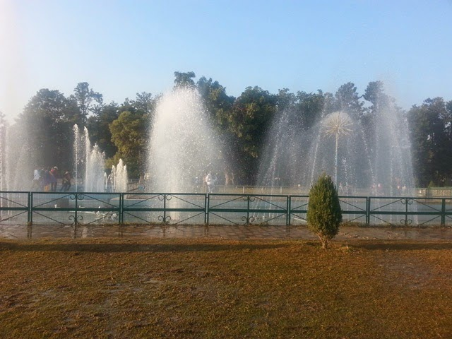 Fountains in rose garden