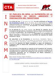 SE PUBLICA EN BOJA LA SUPRESIÓN DE LA CONSEJERÍA DE MEDIO AMBIENTE Y ORDENACIÓN DEL TERRITORIO