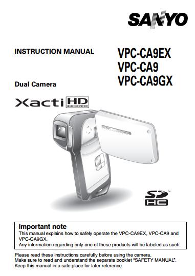 Sanyo Camcoder VPC-CA9 Manual