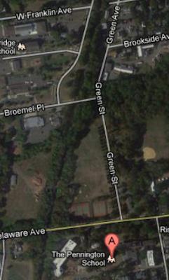Aerial image of Pennington, NJ in 2012 showing G.G. Green from Woodbury, NJ road namesake.
