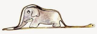 'Boa abierta' digiriendo un elefante. Ilustración original del libro 'El Principito' de Antoine de Saint-Exupéry.