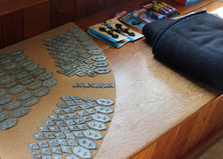 Scales, fleece, toggle clasps for the Thorin scalemail armor project.