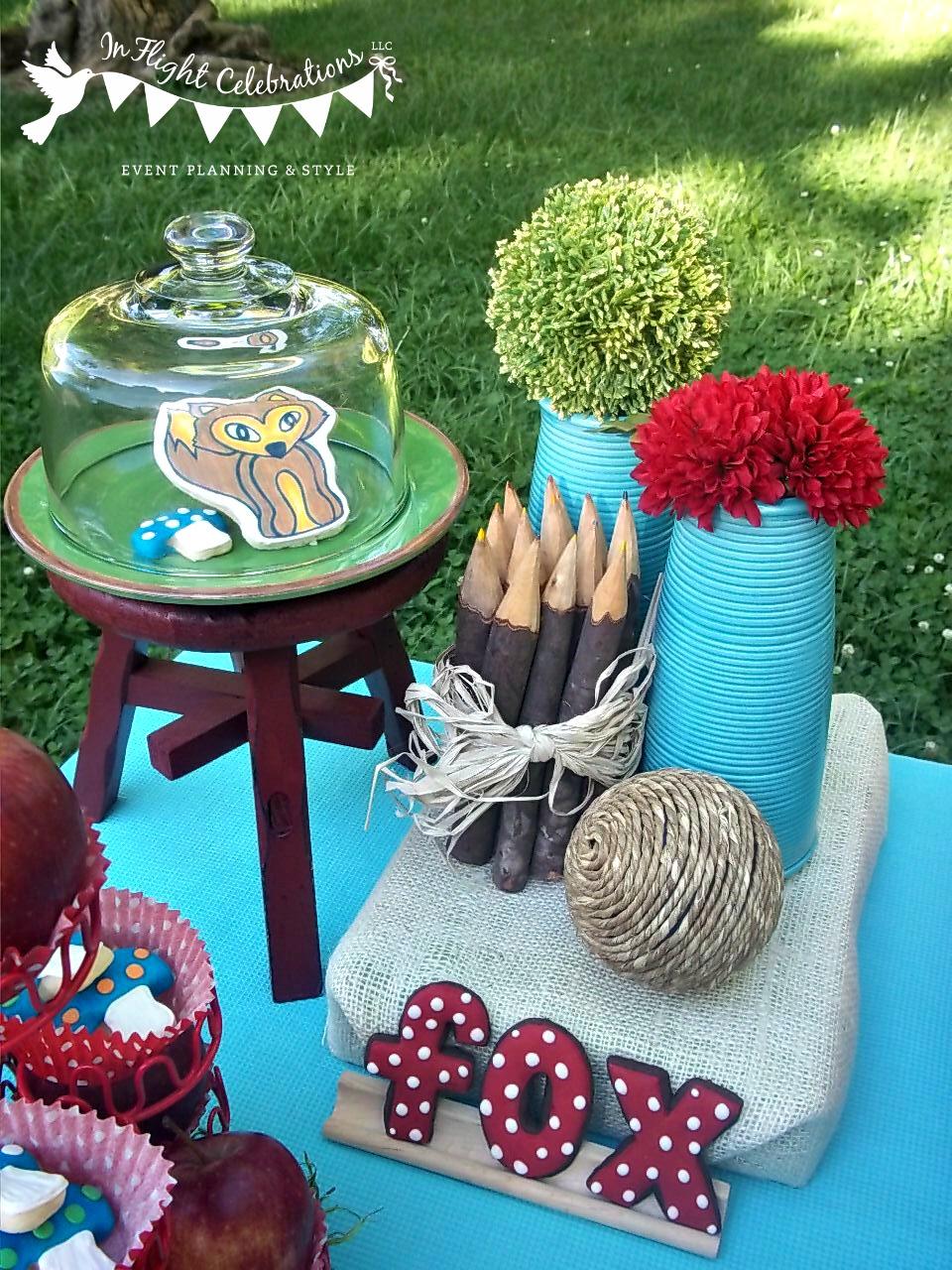 In Flight Party Ideas Woodland Fox Dessert Table